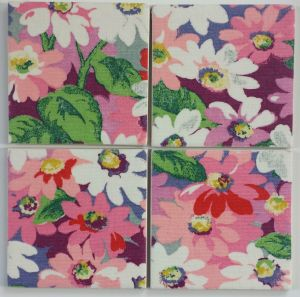 4 Ceramic Coasters in Cath Kidston Painted Daisies